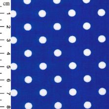 100% Cotton Royal Blue Polka Dot Print Fabric x 0.5m